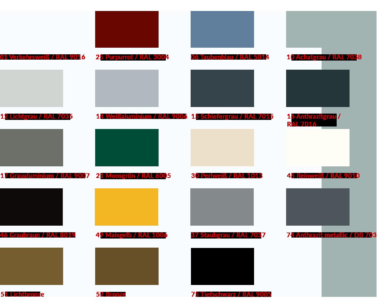 Außenjalousie Farben Flachlamellen 80er