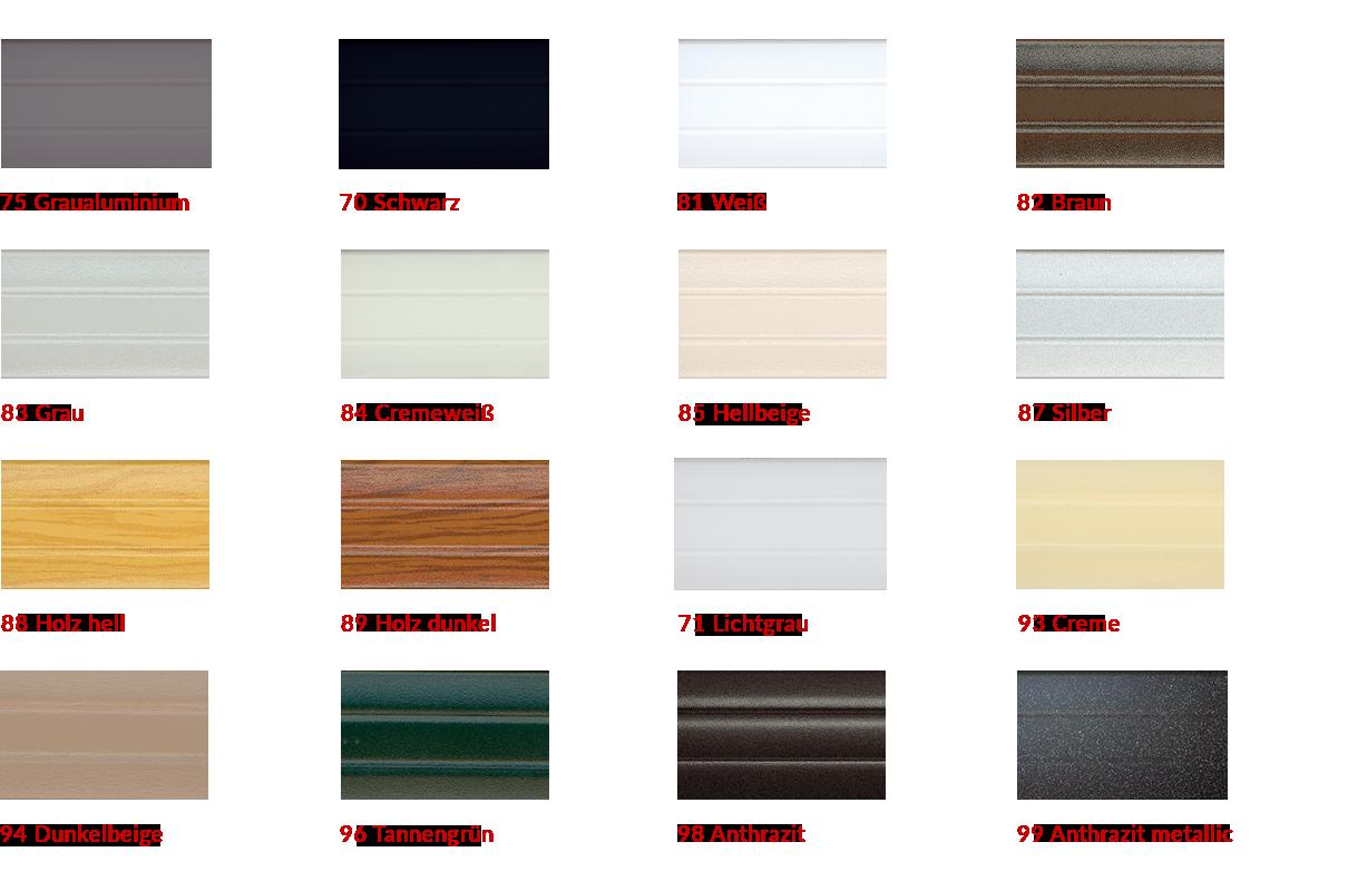 Farben Rollladenprofil Aluminium