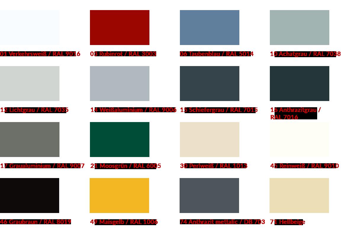 Lamellen Farben Raffstore 50er