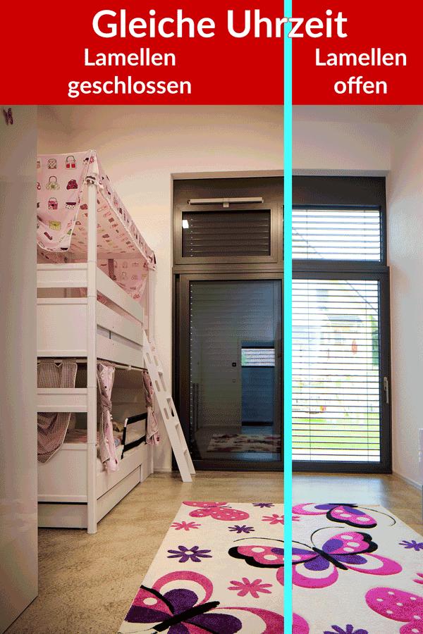 Komplette Verdunkelung mit Jalousien im Kinderzimmer